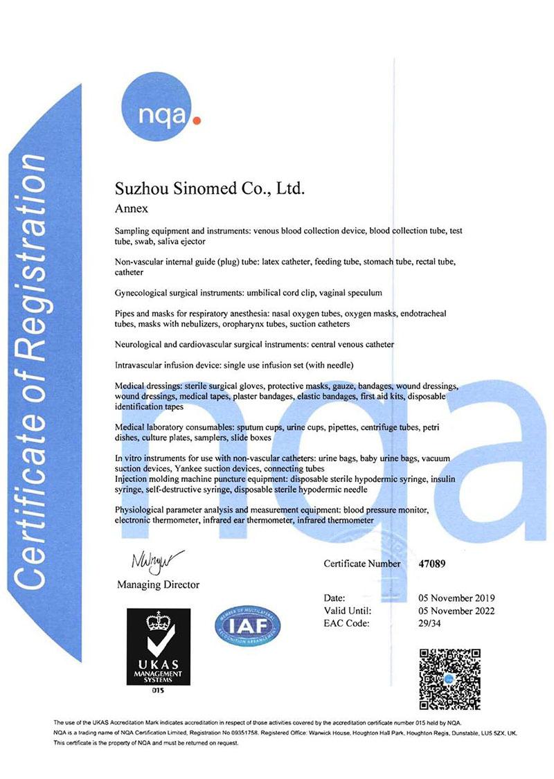 Suzhou Sinomed Business Scope Certificated